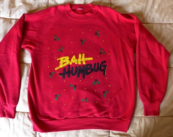 Vintage Bah Humbug BAYWATCH Christmas Holiday Sweatshirt Ugly Sweater 1980s Medium