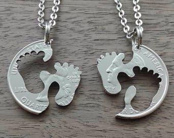 "Coin jewelry, Quarter dollar USA-partner pendant ""Babysitter"""