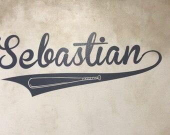 Vinyl Name Decal - Baseball Themed