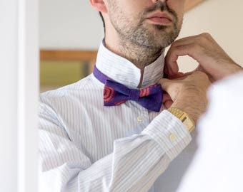 Purple feather shweshwe bow tie