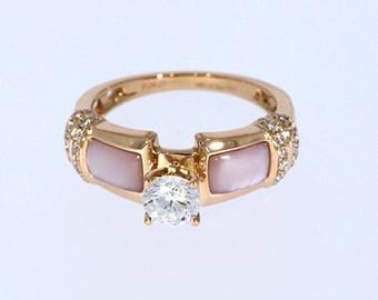 6.00 mm VVS-EF White Moissanite 0.17 ct Natural vs/si-gh Diamond | 10KT/14KT/18KT Rose Gold IGI Certified Ring with Pink Mother of Pearl
