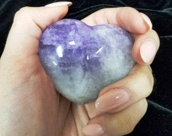 Amethyst Quartz Crystal Hearts