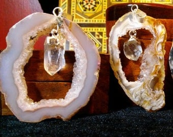 Agate Geode And Quartz Crystal Pendants
