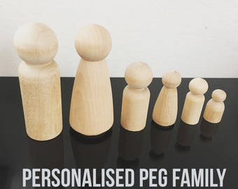 P E G • D O L L S• Custom family personalised peg dolls wooden toy doll