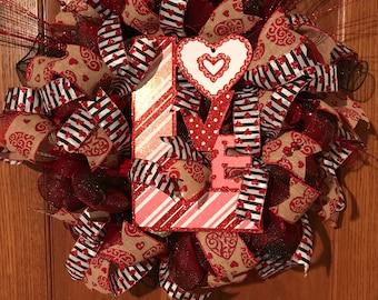 Valentine's LOVE Deco Mesh Wreath, Deco Mesh Wreath, Valentine's Day Wreath, Love Wreath