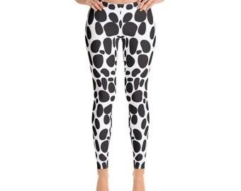 Women's Black Dotted-Leggings,Beautiful Pattern leggings, full printed, Printful, USA,Made for you, Modern,Trendy Design store,