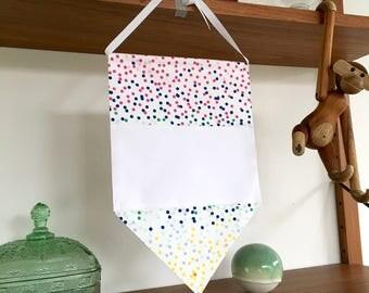 custom rainbow confetti banner/pennant/pin display