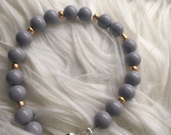Lilac and Gold Beaded Bracelet