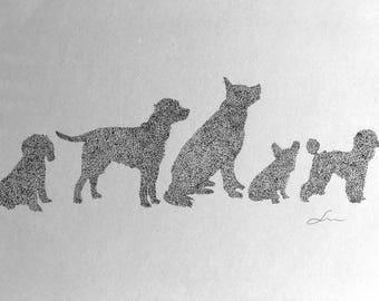 Original Pointillism drawing of dogs
