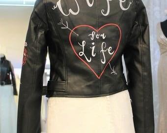Customised 'Wife for Life' Bride Wedding Leather Jacket
