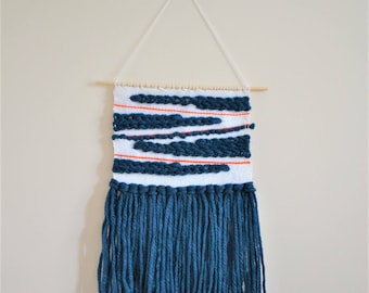 Navy Diagonals Woven Wall Hanging