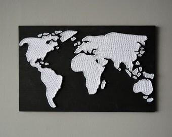 String Art Black World Map Large World Map Wood World Map Custom World Map Abstract Modern World Map Large World Map Art Rustic Map
