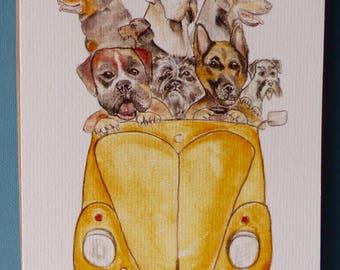 MOTORMUTTS VW BEETLE  dogs Blank Greetings Card from original watercolour artwork by Sara Tuckey