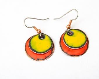 Red and Yellow Enameled Earrings Enamel jewelry Minimalist earrings Women gift ideas Coin enameled earings Diameter 22 mm Total Length 40 mm