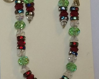 Red and green glass bead bracelet and earring set