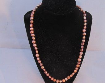 Necklace Pearl rose potato 7-10mm size-21.5 inch Sterling Silver clasps