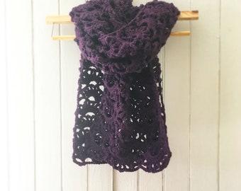 Deep Violet Lace Scarf