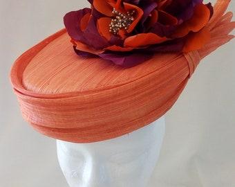 Orange silk abaca hat