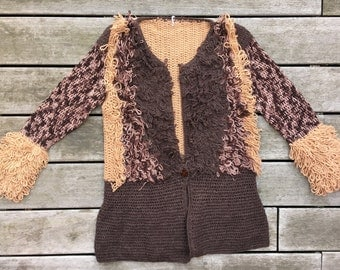 Hand kitted Alpaca wool cardigan
