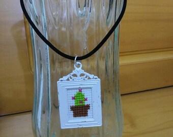 Mini Cactus Picture Frame Necklace
