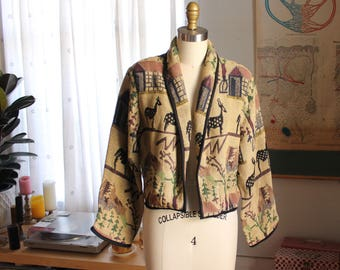 vintage tapestry jacket, cropped jacket with animals . 90s woven blanket jacket by New Identity, womens size medium large xl