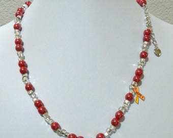 "Red Glitter Necklace, Glass Beads, 20"" Adjustable Necklace, Silver Colored Lined Bead"
