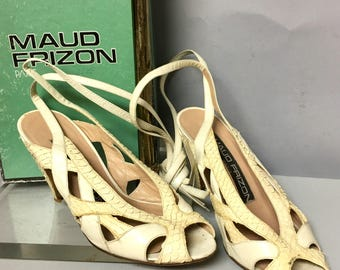 SEXY Ankle Strap, 1970's Maud Frizon High Heels, 70s Designer SNAKESKIN Shoes,  Size 5 1/2, Made in Italy
