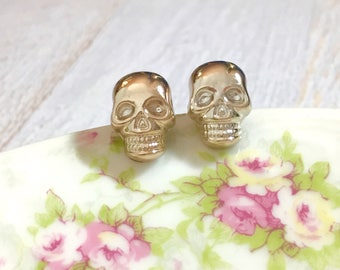 Metallic Gold Lightweight Acrylic Skull Stud Earrings with Surgical Steel Ear Wires, Day of the Dead, Halloween (SE16)