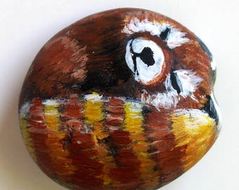 Sleeping Red Panda Original Painted Stone - Firefox Spirit Animal Totem - Small Collectible Rock Painting - One of a Kind Unique - Signed