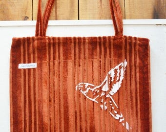 Screen printed Bird Lorikeet Large Brown Tote Shoulder Bag. Upcycled.