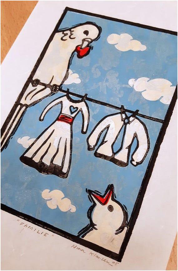 Family - Linoleum Print