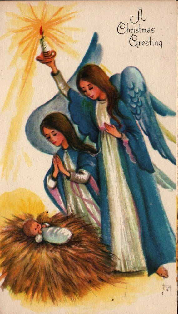 Angels With Baby Jesus - A Christmas Greeting - Vintage Christmas Card