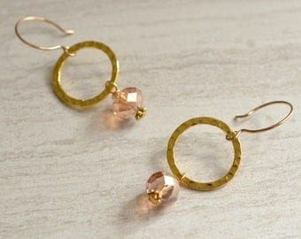 The Jennifer- Champagne Crystal and Gold Hoop Earrings
