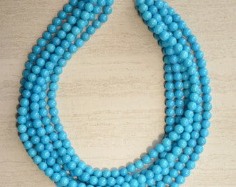 Michelle - Southwest Blue Jade Multi Strand StatementNecklace