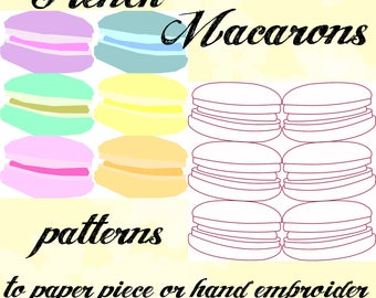French Macaron quilt patterns to paper piece or hand embroidery