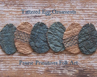 6 SMALL Rustic Egg Ornaments, Primitive Antique Quilt Eggs, Tattered Eggs, Farmhouse Easter Decor, Blue & White Polkadots - READY to SHIP