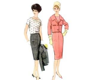 60s Skirt Suit pattern Suit pattern Blouse pattern Pencil Skirt pattern vintage 34-26-36 Shell Blouse Jackie O Suit Simplicity 2843