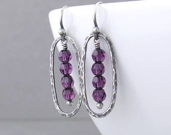 Purple Earrings Small Bead Earrings Dainty Crystal Earrings Silver Drop Earrings Silver Jewelry Gift for Her Crystal Jewelry - Simple Lines