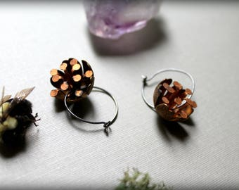 Brass Flower Earrings, Patina Copper Flower Earrings, Vintage Brass Dangle Earrings, Oxidized Silver Hoops
