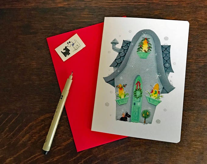 FALLING SNOWFLAKES Blank CARD with Scottie | Christmas Card | Holiday Greetings Postal Card | Doggie Greetings | Valerie Walsh Greeting Card