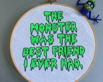 Monster Bestie - hand drawn and embroidered Boris Karloff quotationwall hanging hoop art