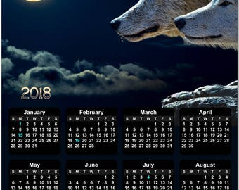 """Wolves in the Moonlight 2018 Full Year View 8"""" Calendar - Magnet or Wall #3866"""