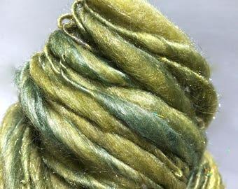 """Green Thick Thin Yarn, bulky handspun yarn """"Lichen""""  yellow green gold grey gray Crochet, Knitting, weaving yarn, Merino Silk yarn"""