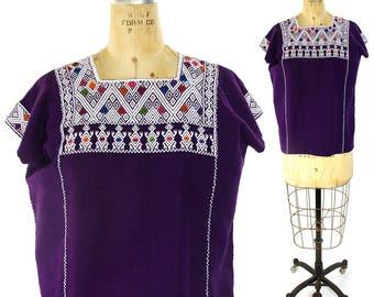 80s Guatemalan Huipil Embroidered Cotton Blouse / Vintage 1980s Ethnic Bohemian Blouse / Hippie Boho Patchwork Woven Mexican Peasant Folk