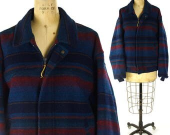 """Pendleton Wool Indian Blanket Coat Vintage 1990s Southwest Striped Jacket Thinsulate Lining Hippie Boho Hipster Western American 54"""" Chest"""