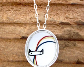 Rainbow Cat Necklace - Sterling Silver and Vitreous Enamel Pride Kitty Necklace