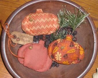 Set of 3 Primitive Rustic Grungy Fall Seasonal Halloween Pumpkin Jack O Lantern Bowl Fillers Ornies Ornaments Cupboard Tucks Shelf Sitters