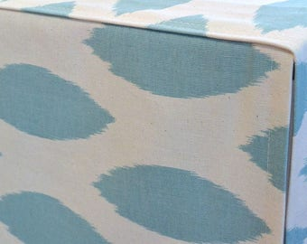 Designer Dog Crate Cover, Chipper Spa Blue/Natural Cover, YOU Choose Fabric, Pet Crate Cover, Personalization & Grommets Extra
