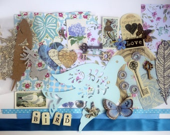 Mixed media collage inspiration kit. Scrapbook, paper craft, card making, art journal pack, blues. Birds, keys, ephemera, vintage