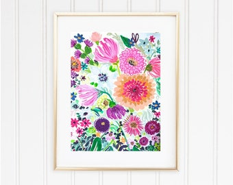 Printable Wall Art Decor Happy Floral Print *DIGITAL DOWNLOAD*